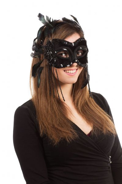 Black Velvet & Feathers Eyemask Masquerade Ball Eye-Mask Eye Mask Craft Making